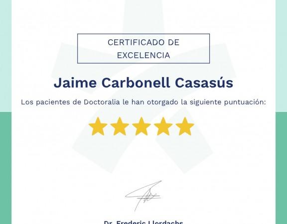 Certificado de excelencia Dr. Jaime Carbonell